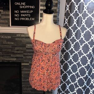 Abstract floral babydoll tank